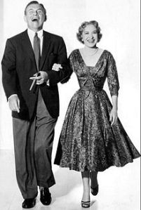 George Burns and Gracie Allen, 1955. They were vaudeville partners before they married in 1926 , and they got their start in the movies in the early thirties. Their television show aired in the fifties.
